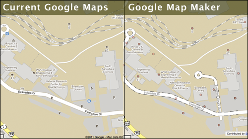 Current Google Maps versus Google Map Maker Comparison of the Evansdale Campus