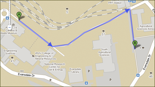 A Google Map showing walk between a campus building and a parking lot.