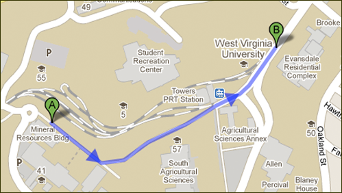 A Google Map showing walk between two buildings.