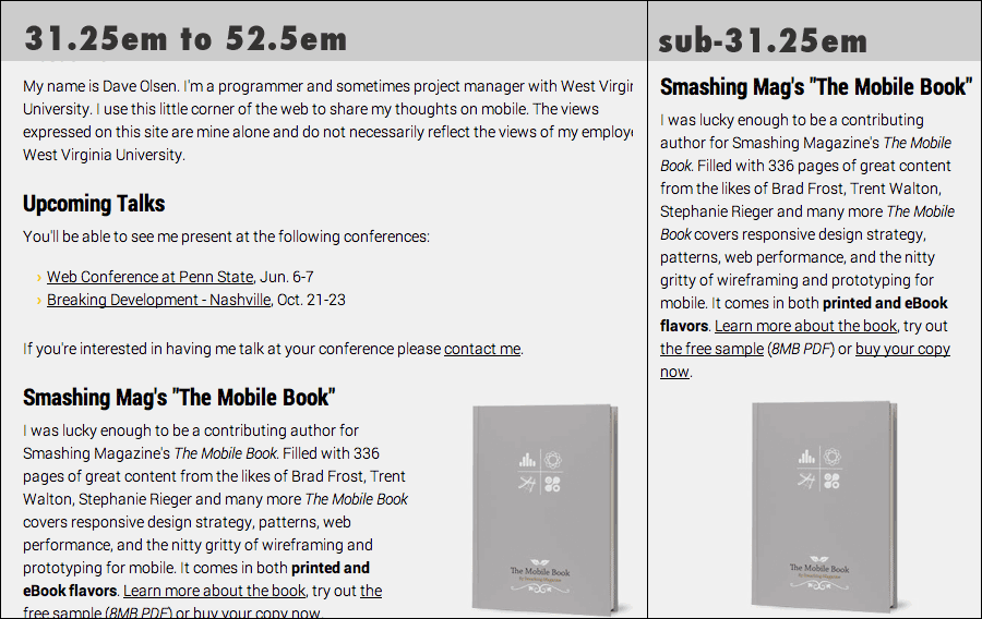Comparison of book layout on small and medium viewports